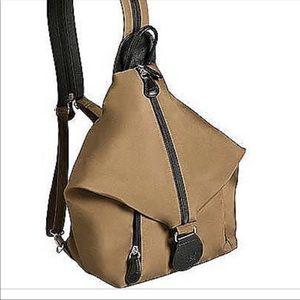 Ameribag Geneva backpack leather nylon taupe
